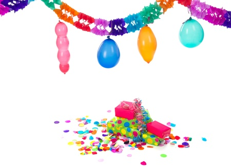 blowed: Colorful paper party guirlandes with balloons and birthday presents on white background