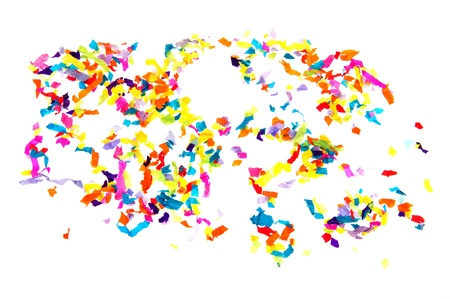 Colorful paper confetti isolated on white background Stock Photo