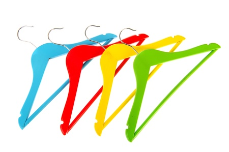 Colorful coat-hanges in red blue green and yellow photo
