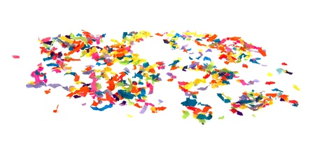 Colorful paper confetti isolated over white background