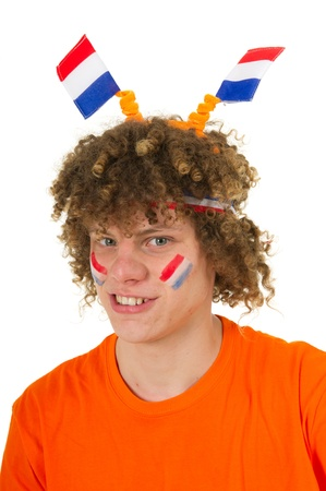 Young boy is supporting the Dutch team Stock Photo - 10261351