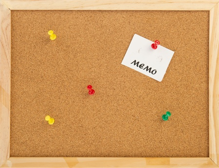 empty cork memo board with wooden frame and pins Stock Photo - 10261315