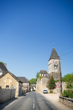 Typical French village in the Dordogne with road and church Stock Photo - 10261310