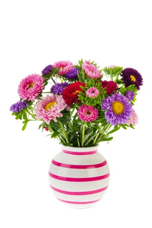vase of flowers: Colorful bouquet New England Asters in vase isolated over white background