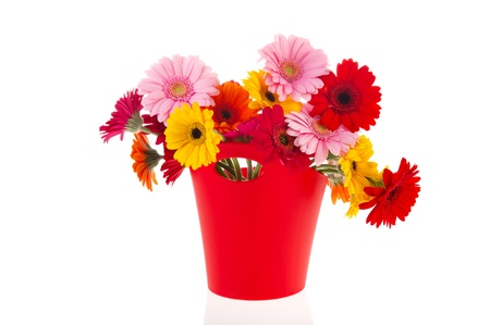 Modern Red Vase With Colorful Gerber Flowers Isolated Over White