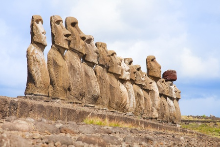 moai: Coast of Easter island with some statues Stock Photo