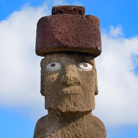 Close from single Moai at Easter island photo