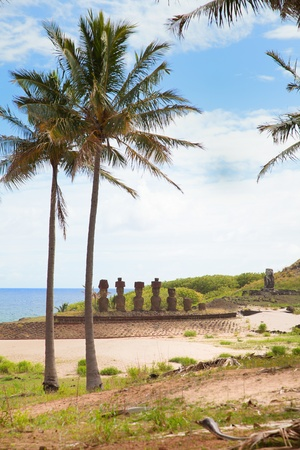 Coast of Easter island with some statues photo