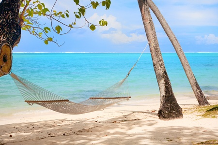 Tranquil scene with tropical beach and hammock Stock Photo