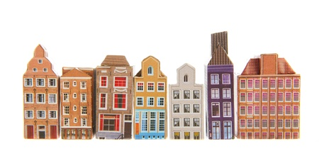 row of houses: Row typical houses from Amsterdam isolated over white background Stock Photo