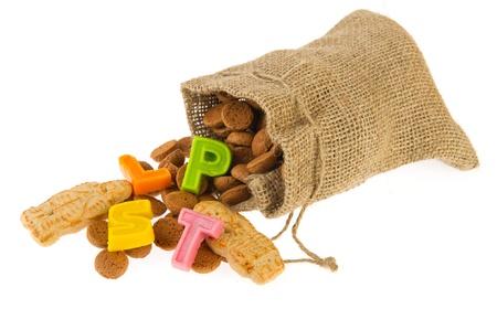 Fallen jute candy bag with pepernoten for Dutch Sinterklaas photo