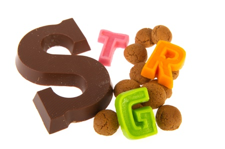 pepernoten: Chocolate letter and pepernoten for Dutch Sinterklaas holidays Stock Photo
