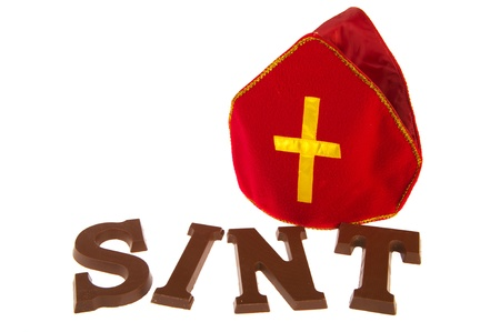 Chocolate letters and mitre for Dutch Sinterklaas holidays Stock Photo - 10714118