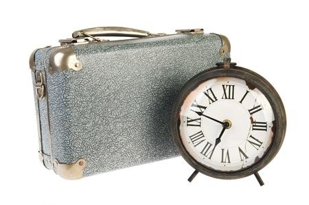 old times: Los viejos tiempos con la maleta de la vendimia y el reloj Foto de archivo