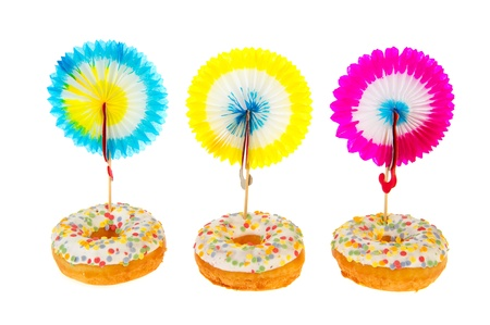 decoratiion: Sweet birthday donuts with confetti glaze and decorataion