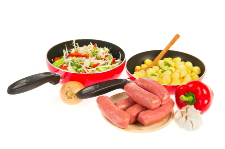 cooking a fresh dairy meal with potatoes vegetables and meat Stock Photo - 10836382