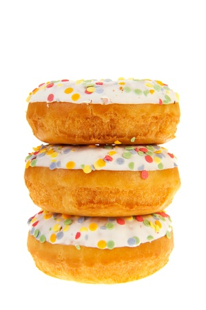 sugary: Three sugary donuts with colorful glaze isolated over white background