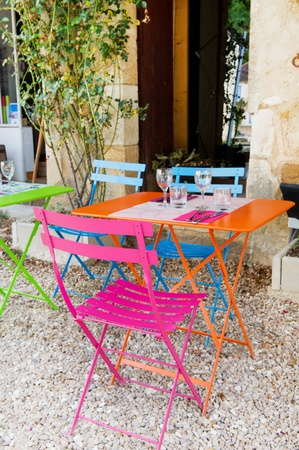 Colorful French terrace from restaurant outdoor  photo