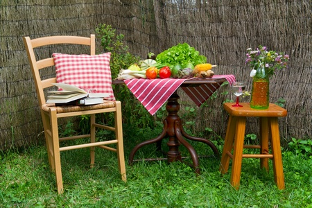 corn flower: Seats and table in a quiet corner of the garden