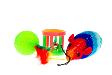 Plastic cat toys isolated over white background