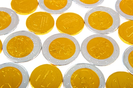sinterklaas: Chocolate coins from euros in silver and gold Stock Photo