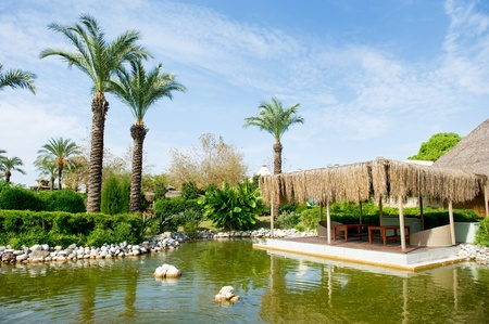 Lake with terrace in tropical garden photo