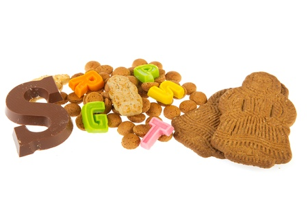 Sinterklaas candy with chocolate letter marzipan pepernoten and speculaas photo