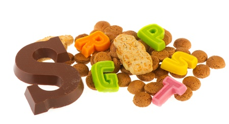 Dutch Sinterklaas chocolate letter and candy as pepernoten Stock Photo - 11263716
