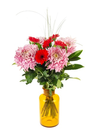 Autumn bouquet with mums and Gerber flowers in pink and red photo