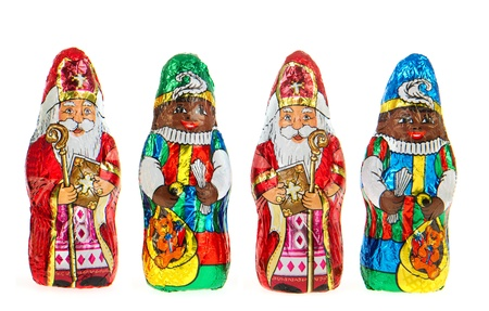 sinterklaas: Chocolate Sinterklaas and Zwarte Piet from Holland Stock Photo