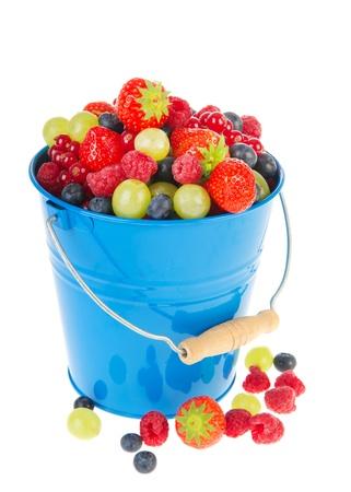 Blue bucket full with fresh fruit Stock Photo - 11473042