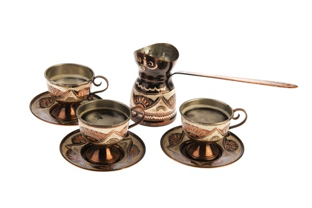 Turkish set with coffee isolated over white background photo