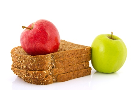 Slices of bread and fresh apples for diet photo