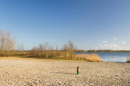 Sand beach in Dutch nature at Wolderwijd in Flevoland photo