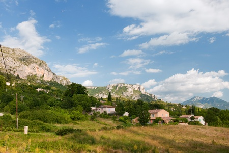 Nature landscape with high rocks in the Haute Provence in France photo
