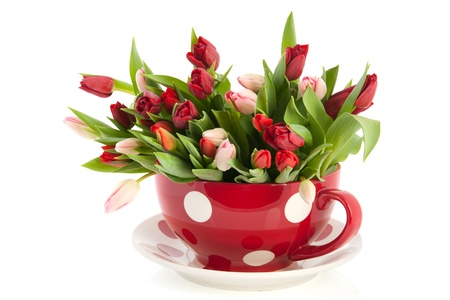 Big gestippelde rode kop en schotel vol met kleurrijke tulpen