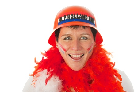 Dutch woman dressed in orange as a soccer fan Stock Photo - 12338484