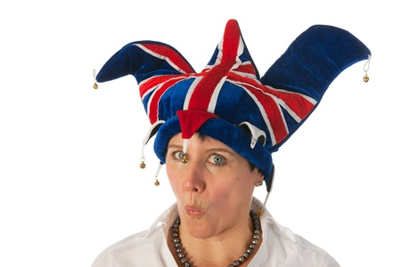 Woman is wearing a funny Brittish hat Stock Photo - 12338476