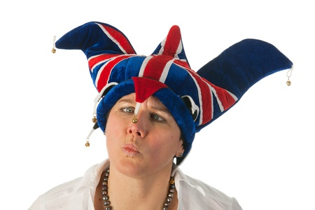 Woman is wearing a funny Brittish hat photo