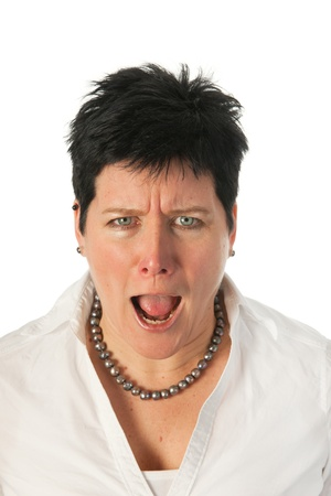 neckless: Angry young woman as studio portrait