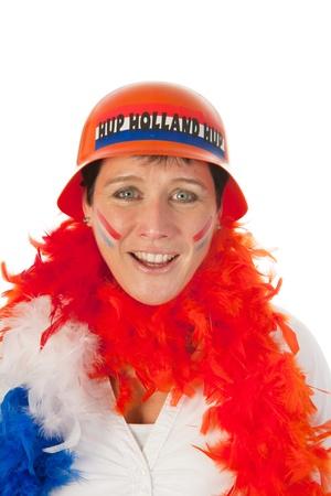 Dutch woman dressed in orange as a soccer fan photo