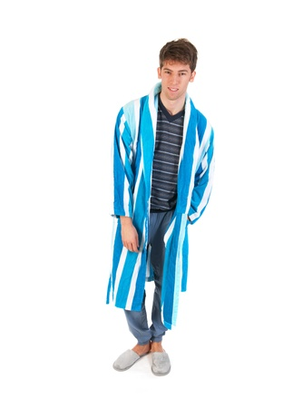 striped pajamas: Young man is wearing pajamas gown and slippers Stock Photo