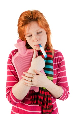 Young adult woman is very sick Stock Photo