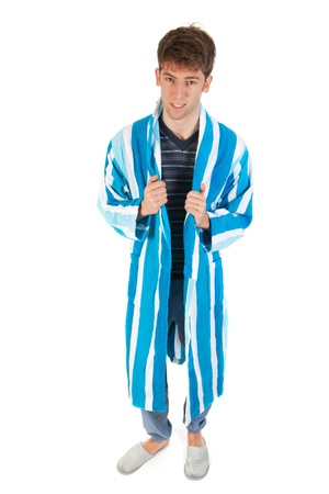 striped pajamas: Joven lleva vestido de pijama y zapatillas Foto de archivo