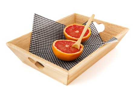 Grapefruit with spoon on tray for diet Stock Photo - 12729106