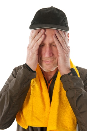 exercitation: Senior sport man with cap and towel after the action Stock Photo