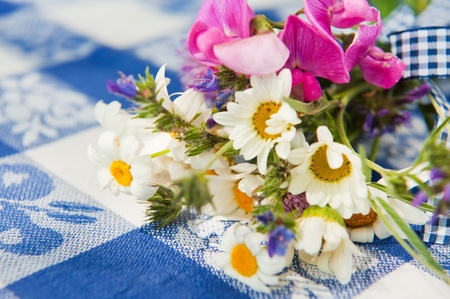 sweet pea: Bouquet wild flowers on blue table cloth