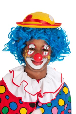 clown's nose: Portrait of a funny black clown with blue hair Stock Photo