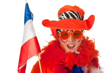 Dutch woman dressed in orange with Holland flag  photo