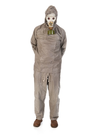 Man dressed in protection suit and gas mask photo